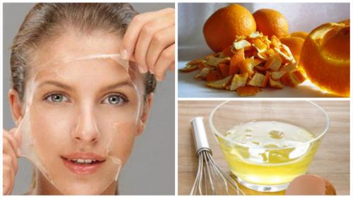 Máscara para pele de clara de ovo e casca de laranja
