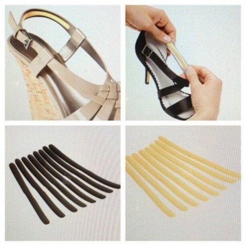 Colocar tiras nos sapatos para que não machuquem