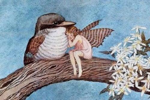 Cortesia entre a fada e o pássaro