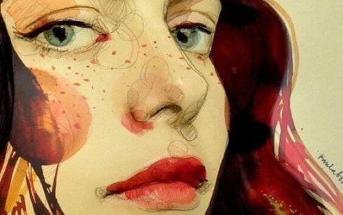 Desenho e menina na fase do crescimento emocional