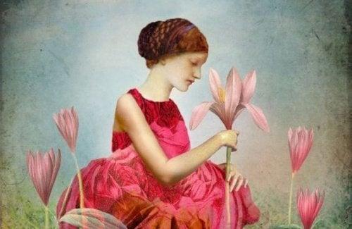 Mulher com flores sentindo vazio emocional