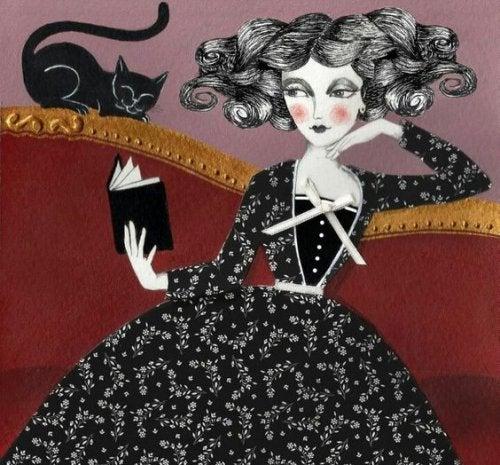 mulher-com-gato-preto