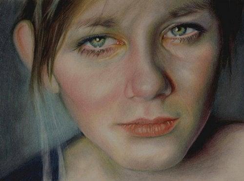 Mulher com rosto doente