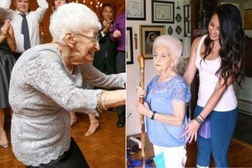 Mulher de 87 anos muda sua postura e sua vida graças à ioga