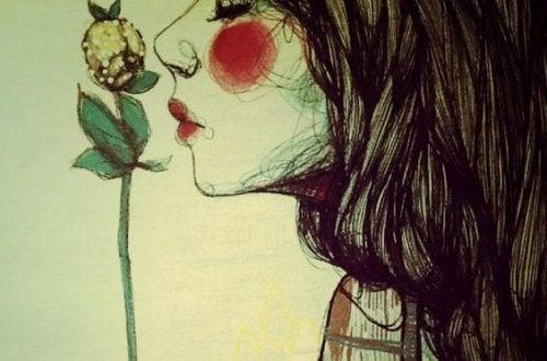 Moça que desfruta ser ela mesma