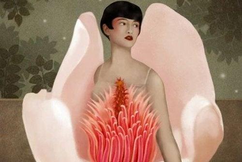 Mulher se escondendo dentro de uma flor por medo de ser ela mesma