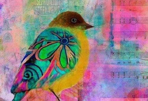 Pássaro colorido indicando o fim de uma batalha
