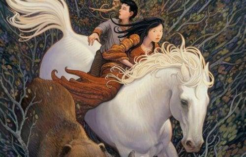 Equipe de casal com cavalo