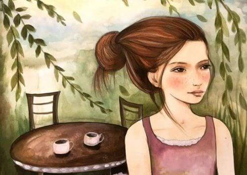 Mulher esperando o seu amor para tomar café