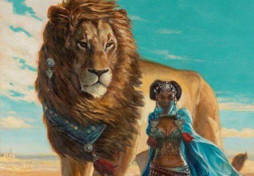 Mulher com leão