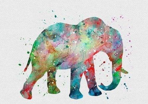 Pintura de elefante afetada por cores