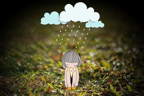 Menina que sente dias nublados por causa de sua autoestima