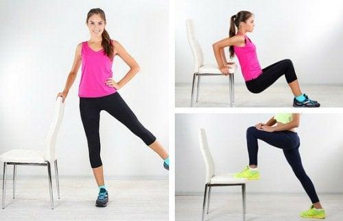 6 exercícios que podem ser feitos com uma cadeira para reduzir os pneuzinhos