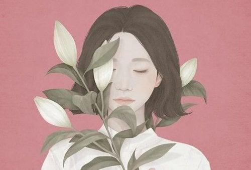 Mulher dependente com flores