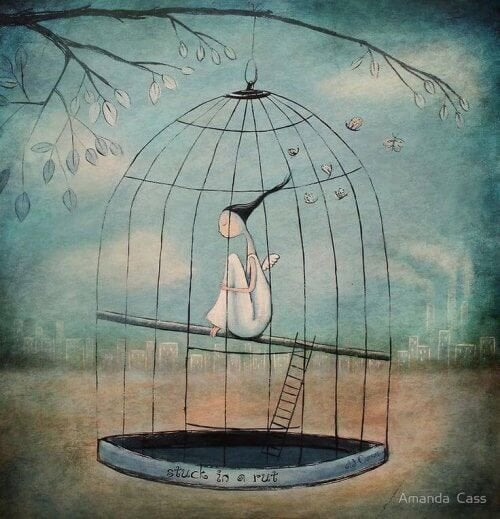 mulher presa em uma jaula