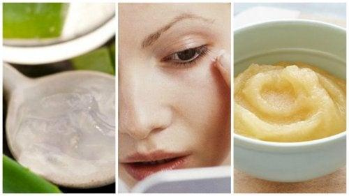 Máscara caseira de maçã, uva e aloe vera para reduzir rugas