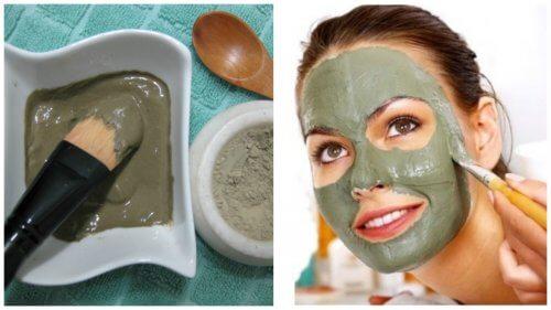 Máscara verde para eliminar cravos, espinhas e manchas