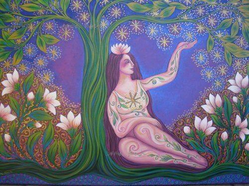 Mulher desfrutando da abundância dos frutos da árvore