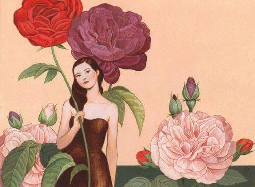 Mulher com flores resolvendo assuntos pendentes