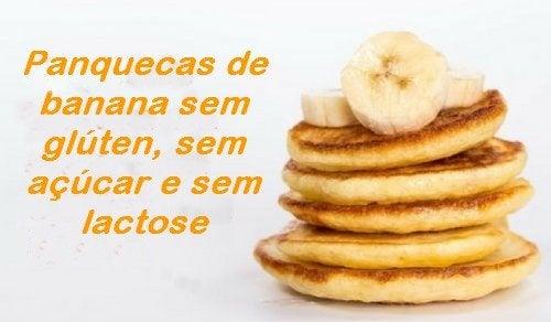 Panqueca de banana sem glúten, sem açúcar e sem lactose