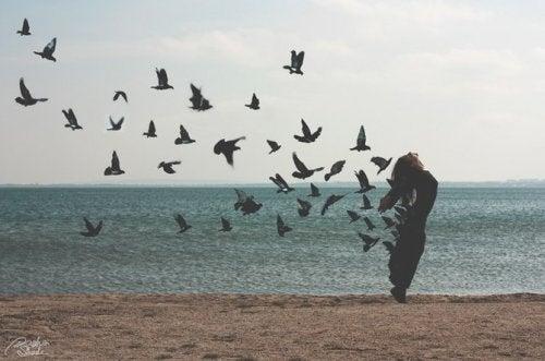 Mulher deixandi ir pássaros