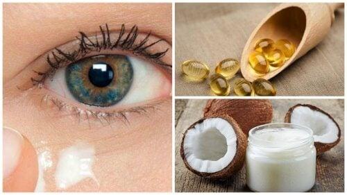 Creme natural de óleo de coco para rejuvenescer o contorno dos olhos