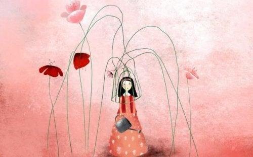 Moça com flores