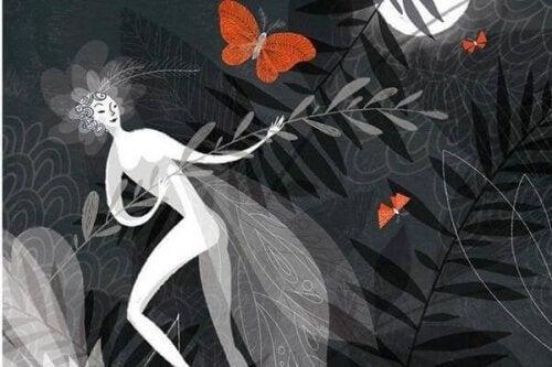 mulher-folhas-borboleta