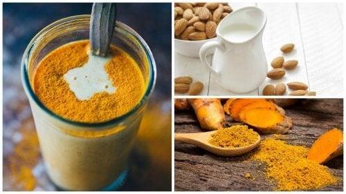 Prepare uma bebida anti-inflamatória de açafrão e leite de amêndoas