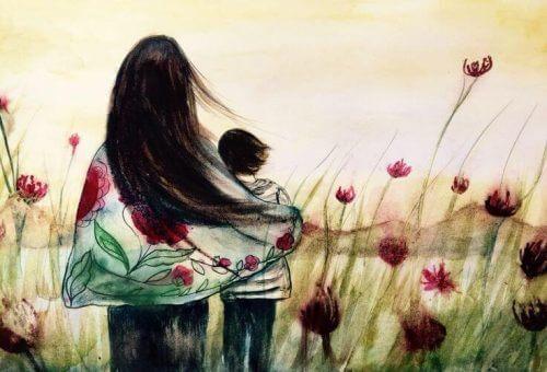 Mãe abraçando filho