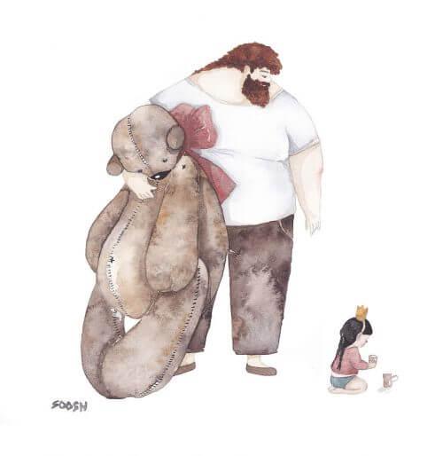 Pai com filha e urso