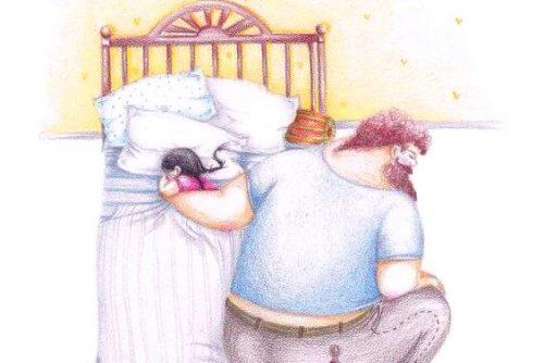 Pai dormindo com filha