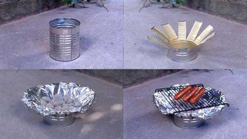 Churrasqueira feita de lata reciclada