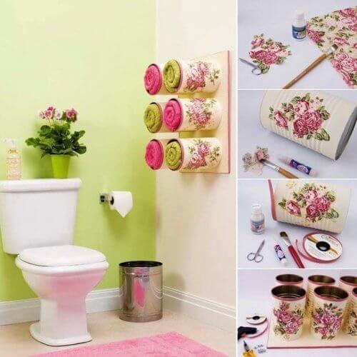 Banheiro decorado com coisas recicladas