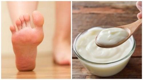 Tratamento caseiro de iogurte e vinagre para remover os calos nos pés