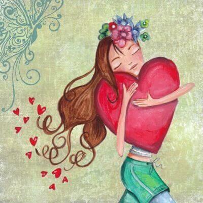 Mulher abraçando coração