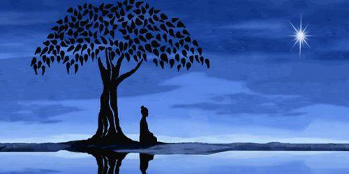 Pessoa meditando debaixo da árvore