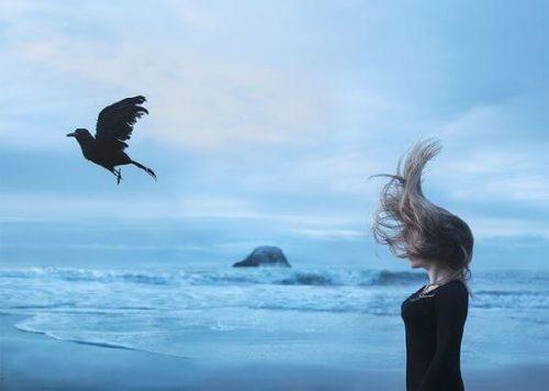 Pessoa no mar com pássaro