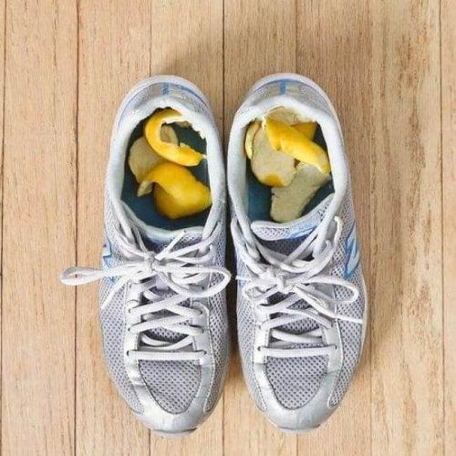 Cascas de cítricos contra os maus odores dos sapatos