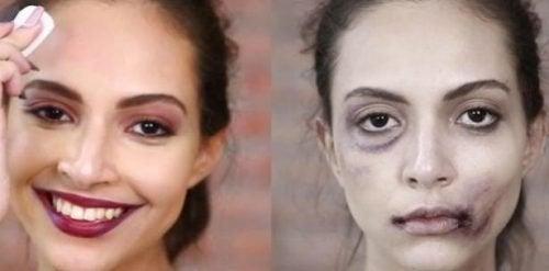 Rosto de mulher maltratada