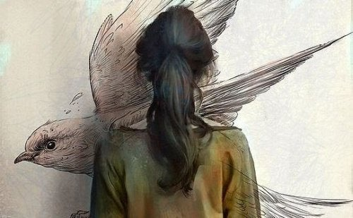 Mulher pensando em pássaros