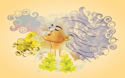 Mulher respirando