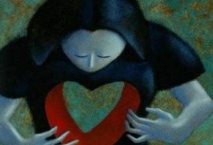 Mulher com coração vazio