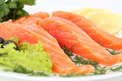 Filés de salmão cru
