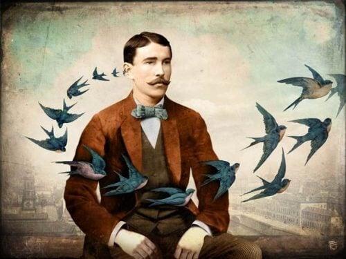 Homem infeliz com pássaros