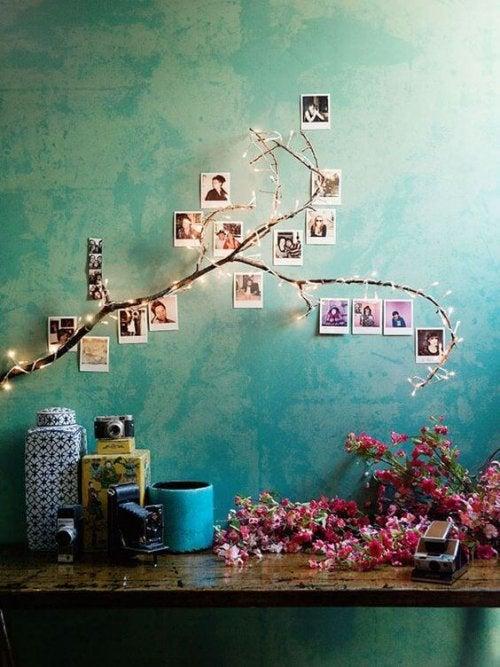Fotografias na parede com luzes