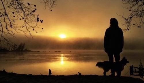 Pessoa olhando para o sol em solidão