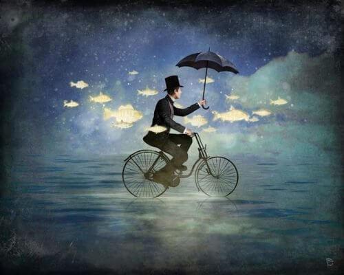 Pessoa feliz andando de bicicleta