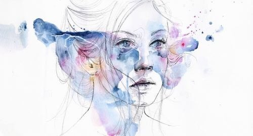 Ilustração de mulher com depressão maior