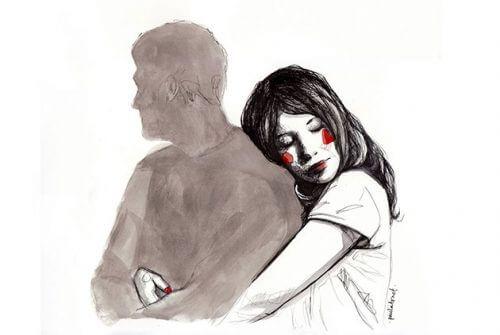 Mulher abraçando homem em seu relacionamento